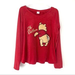 Disney Pooh Oh Bother Plush Fleece Sweatshirt Red
